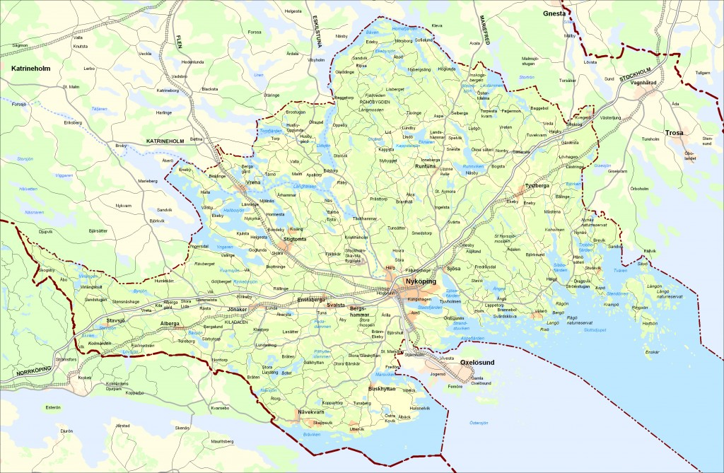 Karta över Nyköping kommun